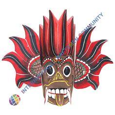 Handmade Multi-color Traditional Sri Lanka mask Gini Raksha, symbol, talisman #Handmade