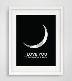 I Love You to the Moon and Back Black and by MelindaWoodDesigns #moon #nurserydecor