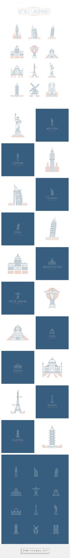 world landmarks on Behance - created via https://pinthemall.net
