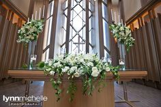 Wedding Flower Arrangements white themed wedding, beautiful white floral arrangement on church altar, Marty Leonard Chapel. Wedding Ceremony Ideas, Church Wedding Flowers, Altar Flowers, Church Flower Arrangements, Wedding Altars, Church Ceremony, White Wedding Flowers, Floral Wedding, Trendy Wedding