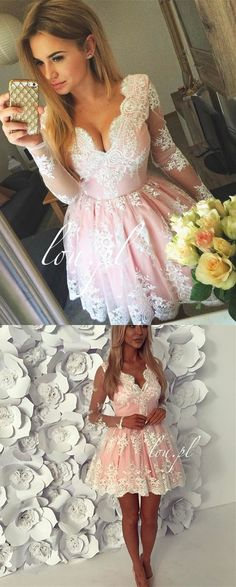 pink short lace homecoming dress, long sleeves homecoming dress, 2017 homecoming dress, formal evening dress party dress