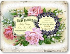 Item 1191 Vintage Pink Roses Soap Perfume Lable Plaque