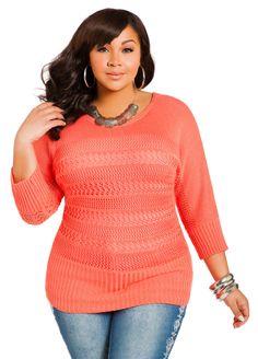 Open Weave Dolman Sweater - Ashley Stewart