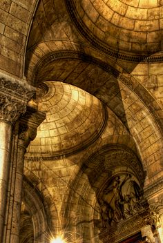 Arches of the Sacre-Coeur Cathedral in Paris, France Beautiful Architecture, Beautiful Buildings, Architecture Details, Beautiful Paris, Beautiful World, Monuments, To Infinity And Beyond, Chapelle, Paris France