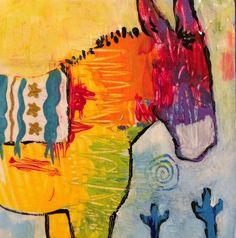 Burro Donkey Original Painting by Caren Goodrich High by caren