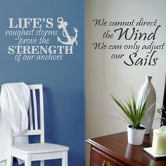 Vinyl Wall Lettering Strength of Anchors or Adjust Sails Nautical Quotes #WallsThatTalk #Quotes