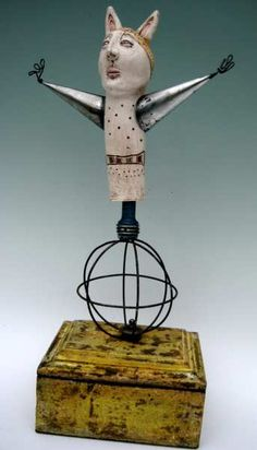 """might mr miser"" l balombini. IB mixed media ceramic kinetic sculpture"