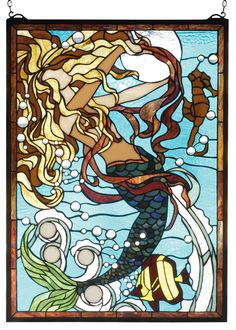 """19""""W X 26""""H Mermaid Of The Sea Stained Glass Window"""