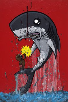 Metsu Shoryuken Shark vs Seal 8 x 12 inch giclee print. $18.00, via Etsy.