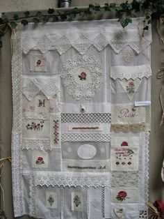 Lovely idea for using heirloom lace and small cross stitch motifs