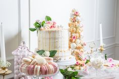 """ And what better way than with a gorgeous spread of desserts at your bridal shower or bridesmaid luncheon? Nuha of Bakery… Strawberry Cheesecake, Chocolate Cheesecake, Caramel Drip Cake, Meringue Kisses, Croquembouche, Bridesmaid Luncheon, Gold Bridal Showers, Brunch Menu, Drip Cakes"