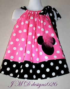 Pink Minnie Mouse Pillowcase Dress  Size 12mos  by JMDdesigns626, $24.99