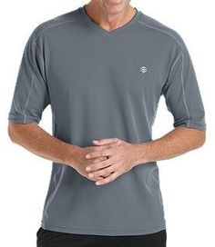 Coolibar grey short sleeve UV Protective Men's Sport T-shirts UPF 50+ soft, light and fast drying