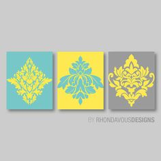 Hey, I found this really awesome Etsy listing at https://www.etsy.com/listing/190724341/teal-blue-yellow-gray-french-damask