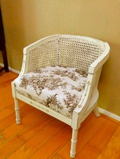 Painted cane chair.  Annie Sloan Old White.