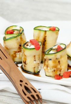 Fabulous appetizer recipe! Grilled Zucchini stuffed with herb goat cheese and pimento - Low Calorie, Low Fat, Healthy perfect for a party