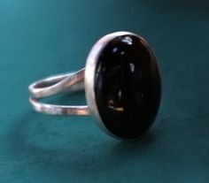 Double Band Sterling Silver Ring with Oval Black by msstudionc $75