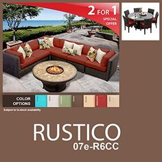 Rustico 14 Piece Outdoor Wicker Patio Furniture Package RUSTICO07eR6CC >>> More info could be found at the image url.