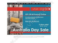 Company:  Urban Originals Subject:  25% OFF AUSTRALIA DAY SALE                INBOXVISION      providing email design ideas and email marketing intelligence.     http://www.inboxvision.com/blog  #EmailMarketing #DigitalMarketing #EmailDesign #EmailTemplate #InboxVision #Emailideas #NewsletterIdeas