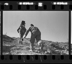 Robert Capa [Soldados republicanos siguiendo a los atacantes con un teléfono de campaña, río Segre, frente de Aragón, cerca de Fraga, España], 7 de noviembre de 1938