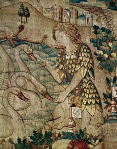 RENAISSANCE TAPESTRY 15TH CENTURY   The Lohengrin legend. Young Duke Elias, Charles the Bold of Burgundy, feeding the swans. From Flanders.   Wawel Castle, Cracow, Poland
