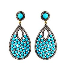 Turquoise Gemstone Drop Earrings Pave 2ct Diamond 14k Gold Fashion Women Jewelry #Handmade
