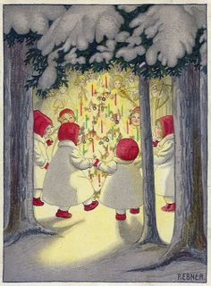 There are many Ebner paintings featuring children wearing sweet little red hats and footwear. Christmas Card Images, Vintage Christmas Images, Christmas Love, Retro Christmas, Vintage Holiday, Christmas Pictures, Xmas Cards, Christmas Angels, Christmas Postcards
