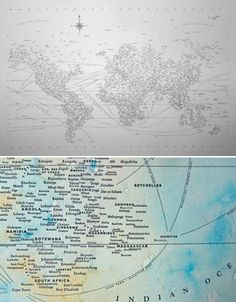 Nothing but text – and, in some cases, dreamy splashes of watercolor paint – make up these hand-crafted world maps by Chicago-based designer Nancy McCabe. So minimalist, and yet there is so much to see – you'll find yourself reading the names of cities which pop out with new clarity against their stark background.