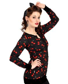 Liquor Brand Damen CHERRIES Cardigans.Rockabilly.Pin up,Tattoo,Custom Style