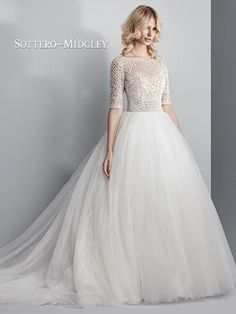 Allen Wedding Gown by Sottero & Midgley: This show-stopping ballgown features a sheer bodice of Swarovski crystals and beading atop a voluminous tulle skirt. Sleeves, sweetheart neckline, open back. Vestidos Boutique, Boutique Dresses, Glamour Hollywoodien, Hollywood Glamour, Long Sleeve Wedding, Wedding Dress Sleeves, Wedding Gown Gallery, Wedding Gowns, Sottero And Midgley Wedding Dresses