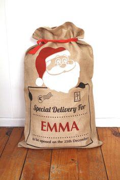 Santa Claus Santa Sack Christmas Stocking by Washhouse on Etsy