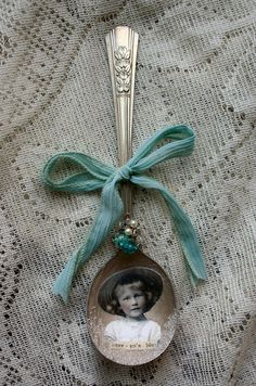 Heavens Blue Altered Whimsical Spoon Ornament. $9.50, via Etsy.