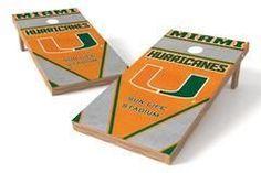 Miami Hurricanes Single Cornhole Board - Burlap