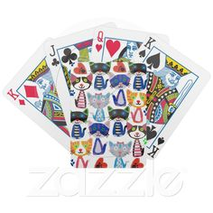 Custom Playing Card Deck ~ happy colorful pop cats pattern card decks from Zazzle.com