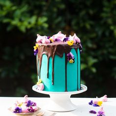 Meaghan Cook. A four layer pure white cake from @sweetapolita, teal buttercream, chocolate ganache drip inspired by @katherine_sabbath, edible flowers and mini pink meringues. Would you like a piece? (Photo for @miss_messy_baker)