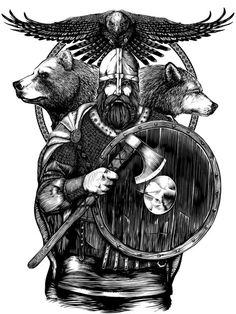 Photos from the Wolf Tattoos, Bear Tattoos, Viking Symbols, Viking Art, Viking Woman, Berserker Tattoo, Tattoo Guerreiro, Viking Warrior Tattoos, Viking Berserker