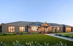 The Davenport is perfect for modern country living with a wide range of facades to take advantage of! Take a look at our Davenport home at Metricon. Modern Ranch, Mid-century Modern, Design Net, House Design, Rambler House, Brick House Plans, African House, New Home Designs, Home Builders