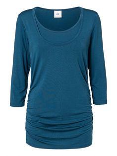 Tico Nell 3 4 Sleeved Long Maternity  Feeding Top Majolica Blue, mamalicious