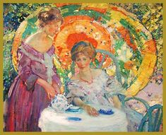 Richard E. Miller, Tea Time (Looks like a shared sitting...Miller and Buehr painting this same scene/models. See Buehr's Under the Parasol).