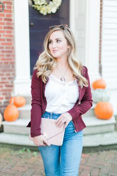 Flare Jeans, Burgundy/Wine/Merlot Jacket, Lace Cream Top, Tortoise Sunglasses, Nude Heels, Thanksgiving Outfit, Thanksgiving ootd, Fall Outfit