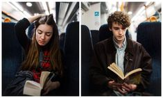 His book is about her and her's is about him? But neither of them know it until the books say the characters glanced up from their books on the train, so they do too, and they make eye contact...