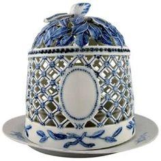 Antique Royal Copenhagen Ice Dome on Porcelain Dish, Blue Fluted