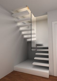 Upgrade Your Floating Stairs For Your Decoration This Year Grey Interior Doors, Interior Stairs, Attic Stairs, House Stairs, Stairs Upgrade, Escalier Art, Stair Plan, Floating Staircase, Spiral Staircase