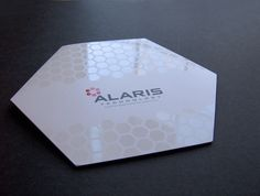 Hexagon-shaped trifold brochure with hex pattern high-gloss spot uv. and rendering of brochure concept. Business Stationary, Unique Business Cards, Business Card Design, Brochure Cover, Brochure Design, Tag Design, Pattern Design, Brand Packaging, Packaging Design