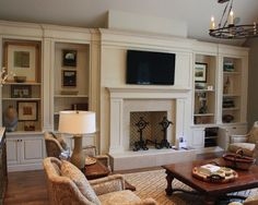 Traditional Living Room... love the built in shelves