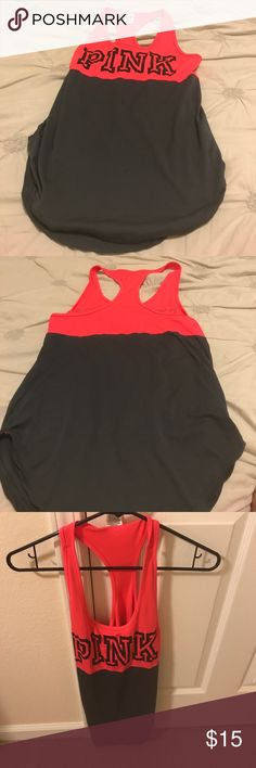 PINK coral and grey athletic racerback tank Super stylish athletic tank by PINK! Almost brand new, only worn once. Racerback style and PINK logo on front. Perfect for working out or lounging in!! PINK Victoria's Secret Tops Tank Tops