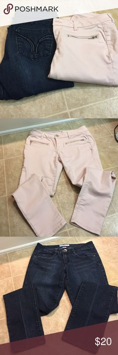 2 pair of size 5 pants 1 pair is dark denim straight leg brand is candies the other pair is a light pink rose/blush color and silver satin feeling skinny pant brand is love fire. Both in great condition. Candie's Jeans Skinny