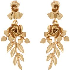 Oscar De La Renta Gold-plated rose-drop clip-on earrings found on Polyvore featuring jewelry, earrings, brincos, vine earrings, gold plated jewellery, oscar de la renta earrings, anchor jewelry and gold plated earrings