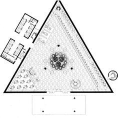 Ground floor plan of the National Commercial Bank, Jeddah, Saudi Arabia, Gordon Bunshaft of SOM, 1981-2
