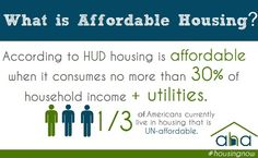 What is Affordable Housing? No more than of your income + utilities! Household Income, Affordable Housing, Ptsd, Education, Life, Educational Illustrations, Learning, Studying